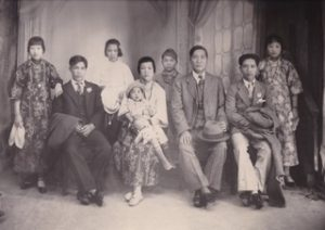 My Grandfather and his Children: Right to left: my mother, my father (#2 son), #2 Aunt, #1 Aunt with daughter, #3 Uncle, Grandfather, #1 Uncle and his wife